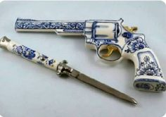 porcelain revolver and switchblade. Weapons Guns, Guns And Ammo, Rifles, Pretty Knives, Armas Ninja, Cool Guns, Fantasy Weapons, Knives And Swords, Panzer
