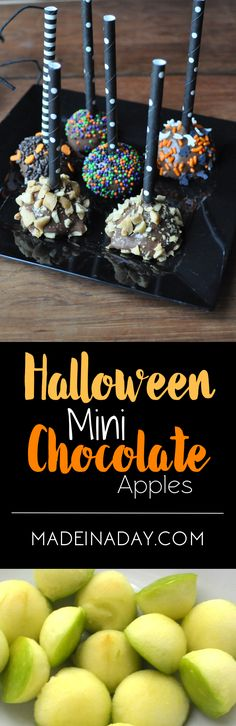 Mini Chocolate Covered Apples, Super easy spooky party snack! Fun apple pops…