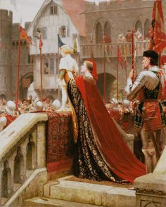 Edmund Blair Leighton – Vox Populi (1904) *** The painting shows Margaret Beaufort (an influential matriarch of the House of Tudor and a key figure in the Wars Of The Roses) holding her young son, prince Henry Tudor (the future King Henry VII).