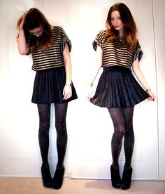 Black And Gold Cropped T Shirt, Gold Sparkly Tights, Pleated Faux Leather Skirt, Black Wedges