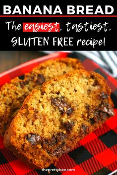 This gluten free banana bread is so tender and has a great crumb! This is a super easy banana bread recipe for those new to gluten free baking. Enjoy warm with a cup of tea for a fall treat! #bananabread #glutenfree #chocolatechip #dairyfree Best Gluten Free Desserts, Gluten Free Cookie Recipes, Gluten Free Cupcakes, Gluten Free Baking, Dairy Free Banana Bread, Easy Banana Bread, Banana Bread Recipes, Chocolate Recipes, Glutenfree