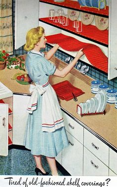 Love the cheerful pop of vibrancy these great crimson shelf liner lend this charming vintage kitchen. #kitchen #vintage #home #decor #shelves #shelving #liners #woman #homemaker #retro
