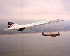 Legends of the Sky: British Airways Concorde and restored Royal Air Force Spitfire