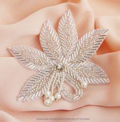 Crystal Beaded Applique - Sashes Fascinators Headbands Apparel Wedding Bridal - Silver Beaded Leaf Pearl Dangles -H. $7.95, via Etsy.