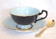 Antique Teacup Paragon Black and Turquoise Blue with Gold Fine Bone China Tea…