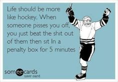 Life should be more like hockey. Ecard humor funny laugh So true Funny Shit, Haha Funny, Funny Stuff, Funny Things, Random Stuff, Random Things, Random Humor, Stupid Stuff, Random Quotes