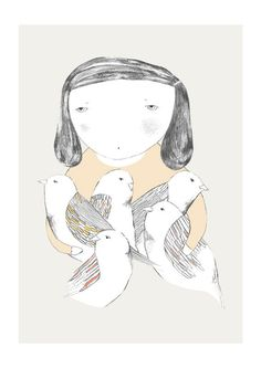 Bird girl print by depeapa on Etsy