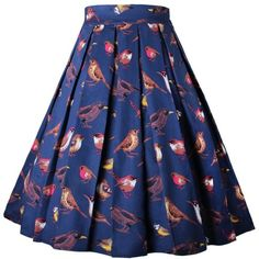 Dressever Women's Vintage A-line Printed Pleated Flared Midi Skirts (135.105 IDR) ❤ liked on Polyvore featuring skirts, vintage midi skirt, flared skirt, blue skirt, pleated flare skirt and pleated skirts