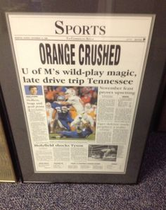 The Holy Grail for Memphis Tiger Football fans in Memphis Commercial Appeal front page news. Memphis defeated the TN Vols led by Peyton Manning.  Several years later, Memphis also beat the Ole Miss team led by Eli Manning.