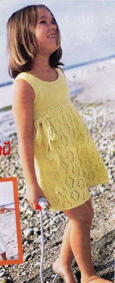 Вязание спицами для детей: схема платья для девочек