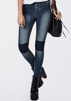 Pin for Later: Get the Skinny on Every Skinny Jean Trend For Winter Patchwork Missguided Edie high-waist knee-patch skinny jeans indigo (£30)