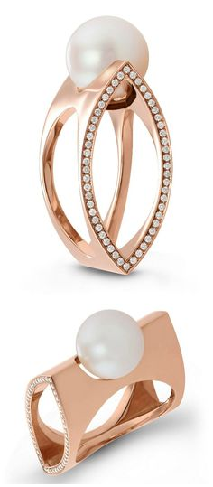 18k rose gold and cultured pearl ring with diamonds. By Beolli for Vitae Ascendere.
