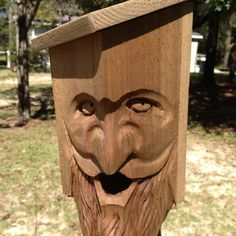 Carved Wood Spirit Folk Art Bird House Unique Primative Decorative Cedar | eBay
