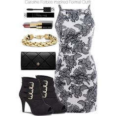 The Vampire Diaries - Caroline Forbes Inspired Formal Outfit by staystronng on Polyvore featuring Express, Tory Burch, BCBGMAXAZRIA, Christian Dior, Bobbi Brown Cosmetics, formal, tvd, carolineforbes and thevampirediaries