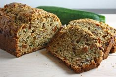 Zucchini Bread, Sliced Loaf~1 1/2 cups zucchini (grated, squeezed and drained) 3/4 c brown sugar 1/4 cup oil 1/2 cup vanilla yogurt 1 egg 1 cup all purpose flour 1/2 cup whole wheat flour 1/2 teaspoon baking soda 1/2 teaspoon baking powder 1/2 teaspoon salt 1/2 teaspoon cinnamon 1/4 teaspoon nutmeg 1/2 cup walnuts (chopped) 1/2 c raisins.  Mix dry tog. mix wet tog, mix. greased 5X9 inch loaf  Bake in a preheated 350F oven until a toothpick pushed into the center comes out clean, about 50-70…