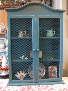Farmhouse Cabinet with Wire Mesh Doors Vintage by poppycottage, $135.00