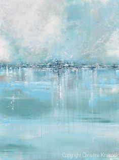 GICLEE PRINT Large Art Abstract Painting Blue White Grey Wall