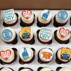 Happy Father's Day Cupcakes! Happy Fathers Day Cake, Fathers Day Cupcakes, Birthday Cupcakes, Worlds Best Dad, Dad Day, Baked Goods, Bakery, Deserts, Chocolate