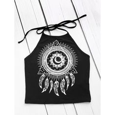 Tattoo Print Halter Neck Top ❤ liked on Polyvore featuring tops, tattoo top, halter neck tops, tie halter top, halter-neck tops and halter top
