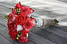 burlap wedding boquet