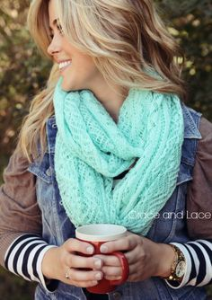 Lace Knit Scarf  MINT lace scarf  infinity scarf by GraceandLaceCo