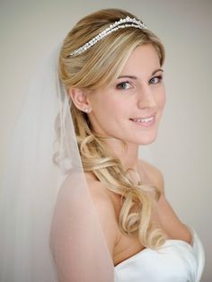 """link to """"how to choose the right wedding veil for you"""" / plus, this photo ain't bad with the hair like that and the tiara like that"""