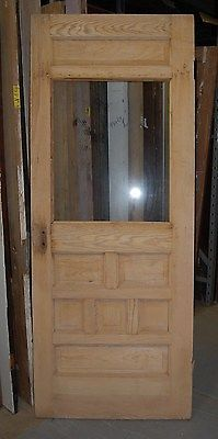 "Vintage Pine Door ""stripped"", Sunburst carvings"