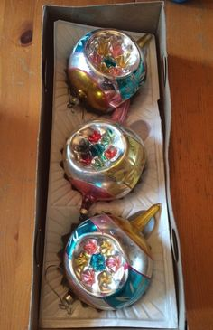 Vintage 1960s Mercury Glass Christmas Ornaments Set of 3 Floral Design