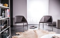 Sidney Leather Warm Gray Leather/Slate Fabric Lounge Chair