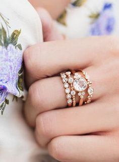14k Gold and Diamond Morganite Bezel Cluster Ring with Stevie ring, Seven Reverse Diamond Ring and Three Diamond Bezel Beaded Band Ring ~ we ❤ this! moncheribridals.com