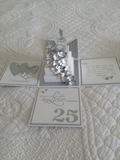 Explosionsbox zur Silberhochzeit! Card In A Box, Pop Up Box Cards, Love Cards, Silver Anniversary, Anniversary Cards, Wedding Boxes, Wedding Cards, Exploding Gift Box, Envelopes