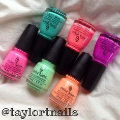 """Repost from @taylortnails: """"my order from @HB Beauty Bar came in today! The China Glaze sunsational cremes collection..."""""""