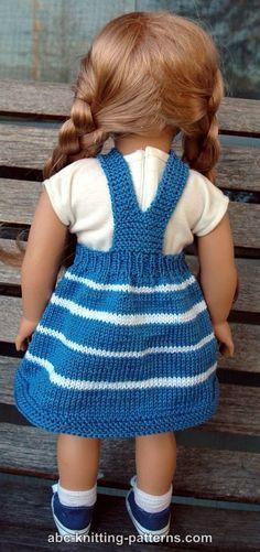 ABC Knitting Patterns - American Girl Doll Fair Skies Jumper Knitting Dolls Clothes, Crochet Barbie Clothes, Baby Doll Clothes, Doll Clothes Patterns, Dress Patterns, American Girl Outfits, American Doll Clothes, American Girls, Knitted Doll Patterns