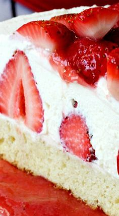 Celebrate National Strawberry Shortcake Day with this amazing Strawberry Shortcake Cheesecake recipe! One dessert with cake, strawberries & cheesecake! Strawberry Shortcake Cheesecake, Shortcake Recipe, Strawberry Desserts, Just Desserts, Delicious Desserts, Yummy Food, Food Cakes, Cupcake Cakes, Cheesecake Recipes