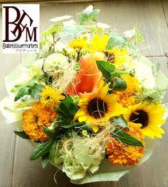 花ギフトのプレゼントBFM ひまわりを使った。そんなフラワーアレンジメント