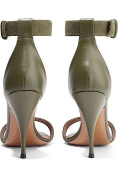 Givenchy - Retra Suede-trimmed Leather Sandals - Army green - IT37.5