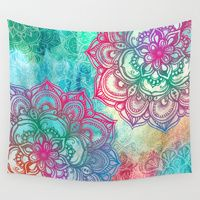 Wall Tapestries featuring Round & Round the Rainbow by micklyn