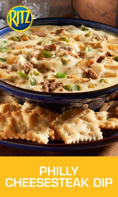 Straight from the heart of the East Coast comes this full-flavored contender that matches up perfectly with RITZ Toasted Chips! Create this Philly Cheesesteak Dip by cooking peppers and onions in a skillet until crisp and tender. Then, add in sliced roast beef and seasonings, cooking for another 2-3 minutes. In a microwave, heat up a bowl of cream cheese, American cheese and milk until completely melted. Combine cheese mixture with meat and veggies and prepare to taste victory.