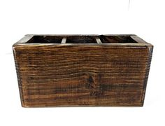 Dark Walnut Stained Rustic Wooden Box with 3 Sections