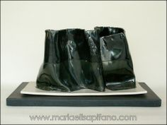 "Maria Elisa Pifano - Sculpture ""Black on black 3"" glazed stoneware"