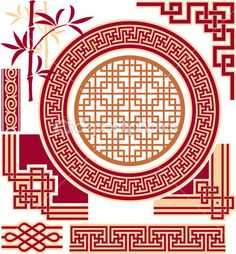 Set of Oriental - Chinese - Design Elements — Stock Illustration #9435584
