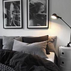gray bedroom walls, gray bedroom design ideas you want … – cozy home warm Black And Grey Bedroom, Grey Bedroom With Pop Of Color, Grey Bedroom Design, Bedroom Colors, Home Decor Bedroom, Bedroom Furniture, Bedroom Designs, Wood Furniture, Furniture Stores