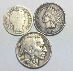 Coin lot w/1909 Barber 10₵, Indian Head 1₵ full LIBERTY and 1938-D Buffalo 5₵.