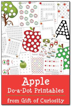 Apple Do-a-Dot Printables: 19 pages of apple do-a-dot worksheets to help kids… Preschool Apple Theme, Apple Activities, Fall Preschool, Preschool Education, Alphabet Activities, Preschool Kindergarten, Toddler Activities, Preschool Activities, September Preschool