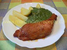 Uzená stehýnka se špenátem Pork, Meat, Chicken, Kale Stir Fry, Pork Chops, Cubs