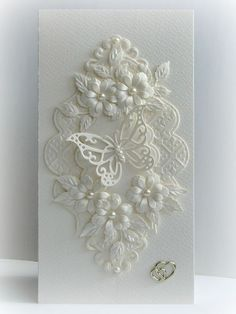 handmade wedding card from Paper Fever ,,, white on white . layers of die cut flowers, flourishes and lacy frame . Wedding Cards Handmade, Greeting Cards Handmade, Butterfly Cards, Flower Cards, White Butterfly, Butterfly Wedding, Wedding Flowers, Karten Diy, Parchment Cards