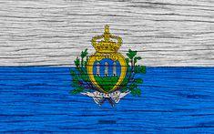 Download wallpapers Flag of San Marino, 4k, Europe, wooden texture, San Marinas flag, national symbols, San Marino flag, art, San Marino