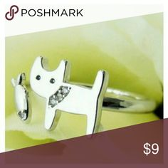 COMING SOON Cute Little Kitty With Fish Ring Adjustable / OS Comes in Silver & Gold Silver/Gold plated with Cubic Zirconia Cat Life Jewelry Rings