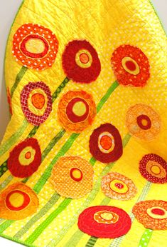 "Baby quilt -poppy baby/ wall art quilt ""Poppies Full of Sunshine'' poppies in bright reds and oranges on yellow READY TO SHIP"