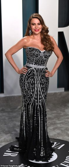 Sparkling star: Sofia Vergara was dressed to impress in a beaded strapless gown...